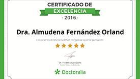 Certificado excelencia Doctoralia Dra. Almudena Fernández en 2016